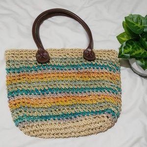 VTG Cappelli Straworld Woven Straw Rainbow Bag